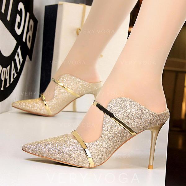 Femmes Tissu Talon stiletto Escarpins avec Paillette chaussures