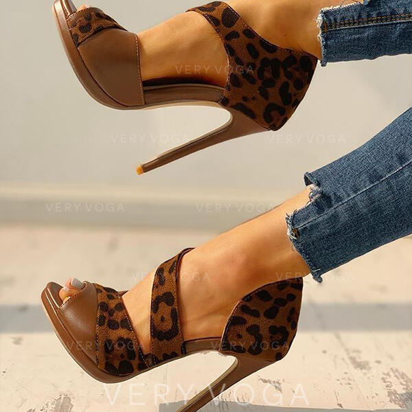 Női PU Tűsarok Magassarkú -Val Animal Print cipő