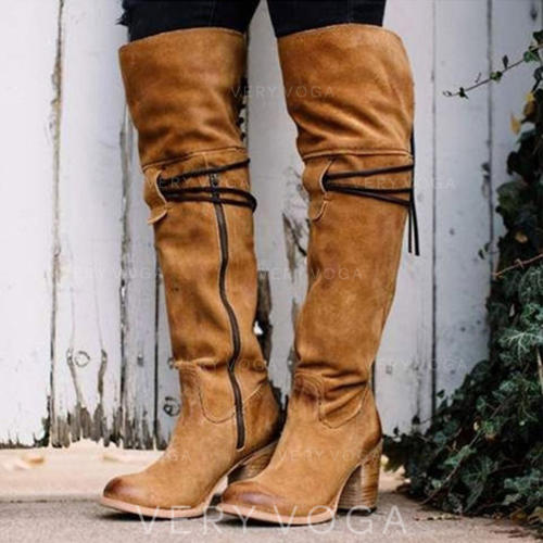 Frauen PU Stämmiger Absatz Stiefel Kniehocher Stiefel mit Reißverschluss Schuhe