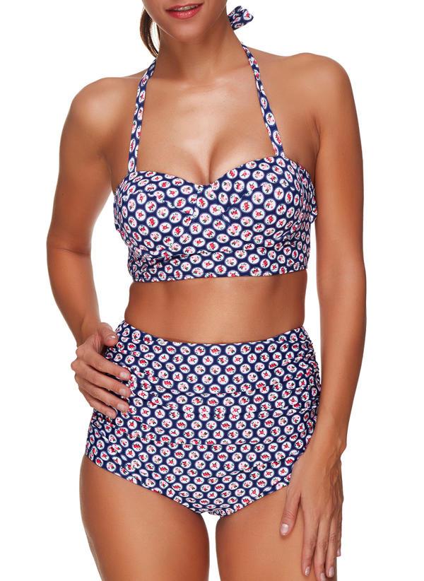 Sexy Floral Armature Sangle Bikinis Maillot de bain