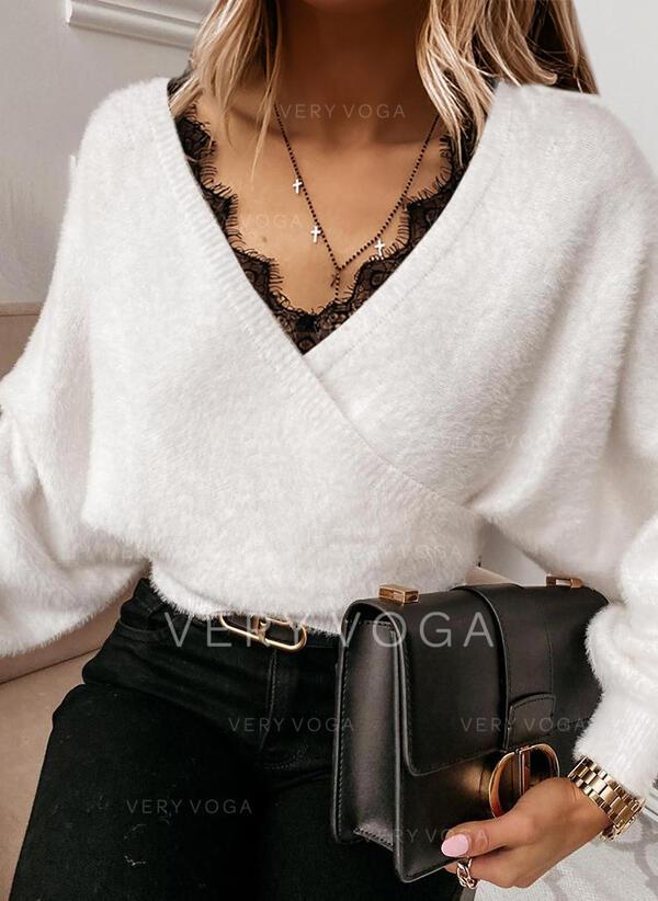 Sólido Encaje Cuello en V Casuales Suéteres