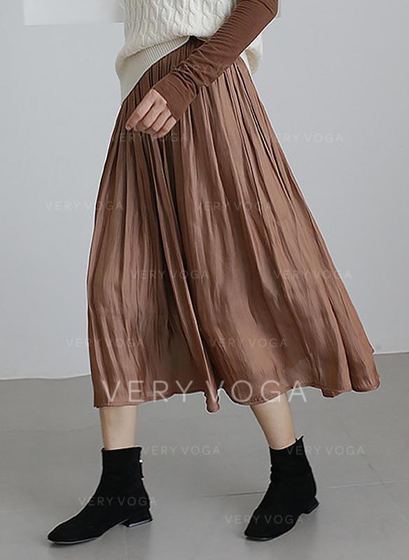 de3b9e7663f0 Polyester Jednobarevný Do půl lýtek Skládané sukně () - Sukně ...