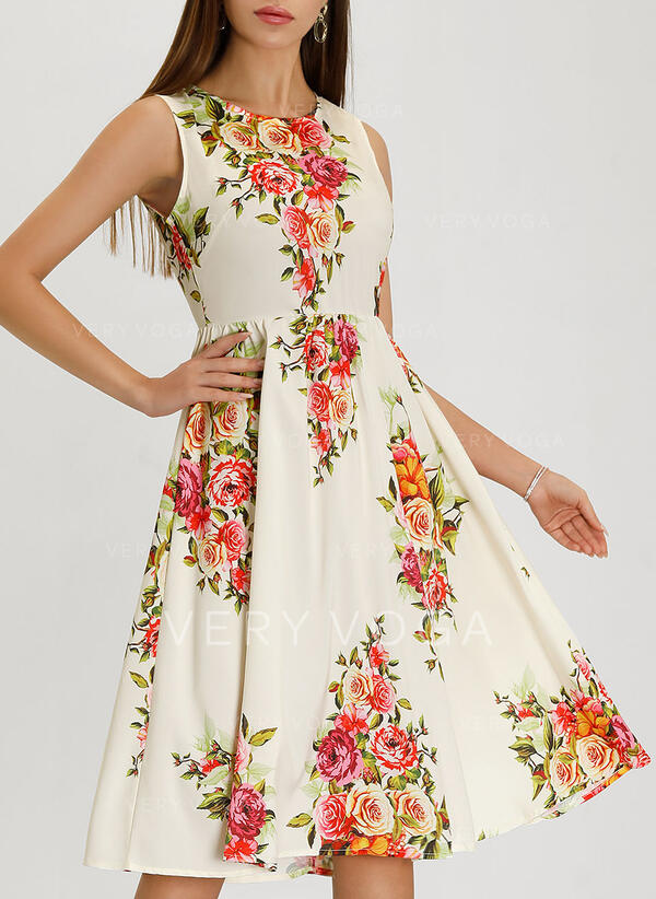 Floral Sleeveless A-line Knee Length Vintage/Party/Elegant/Boho/Vacation Dresses