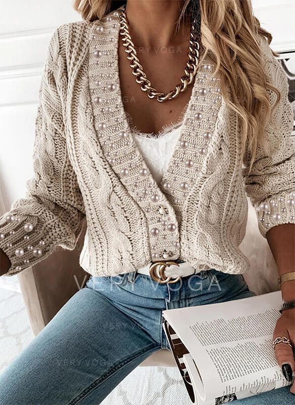 Solid Cable-knit Beaded V-Neck Casual Cardigan