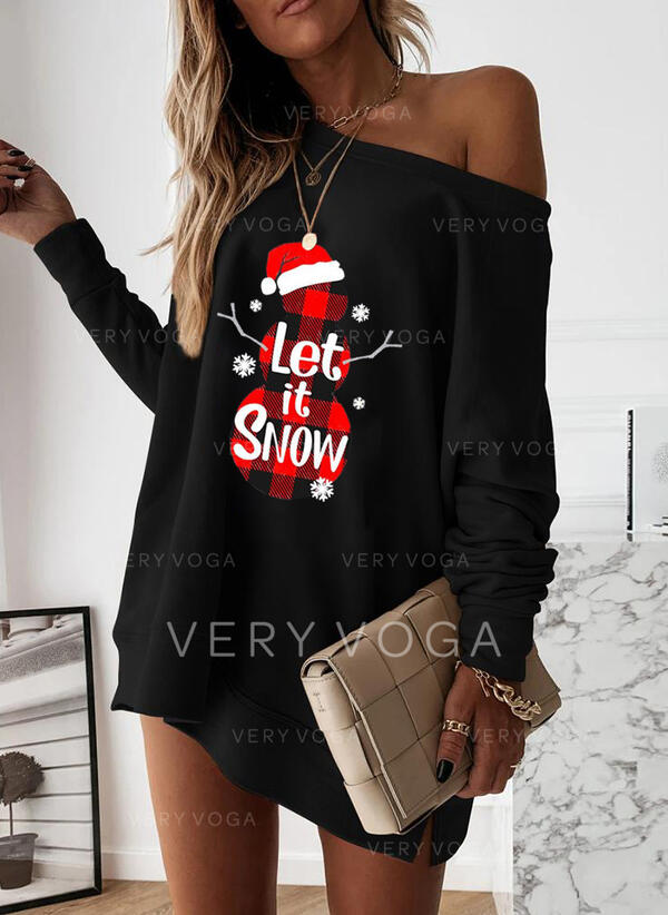 Print Long Sleeves Shift Above Knee Christmas/Casual Tunic Dresses
