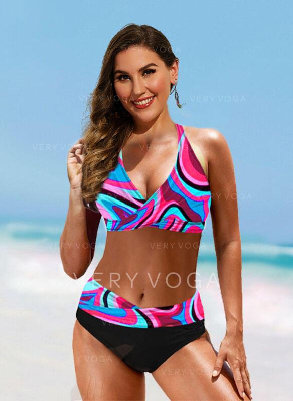 Hochtailliert Drucken Spleiß Farbe Träger V-Ausschnitt Sexy Vintage Boho Bikinis Bademode