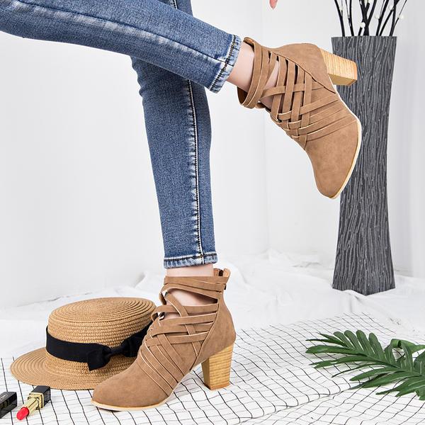 De mujer Ante Tacón ancho Salón Botas Botas al tobillo con Cremallera zapatos