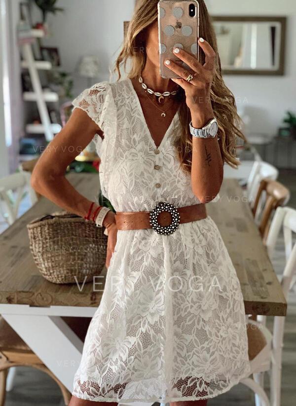 Koronka/Jednolita Krótkie rękawy W kształcie litery A Nad kolana Elegancki Łyżwiaż Sukienki