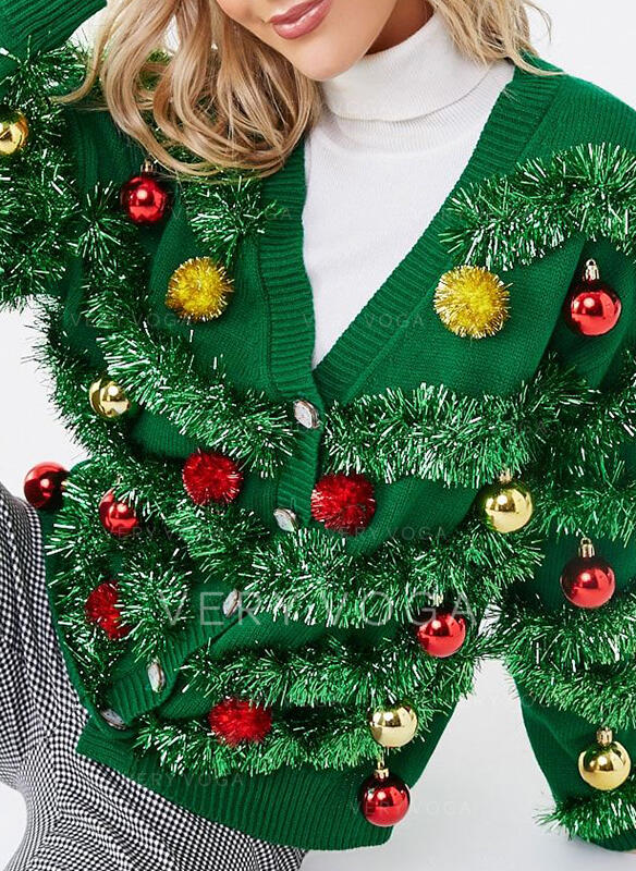 Dame Polyester Solid Color Ugly Christmas Sweater