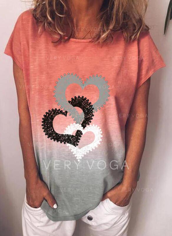 Degradada Corazón Impresión Cuello Redondo Manga Corta Camisetas