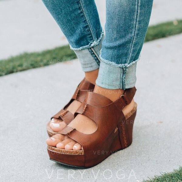 De mujer PU Tipo de tacón Sandalias Encaje con Color sólido zapatos