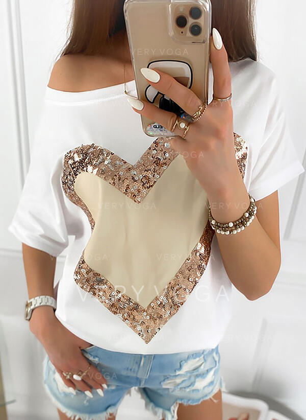 Print Sequins One-Shoulder Short Sleeves Casual T-shirts