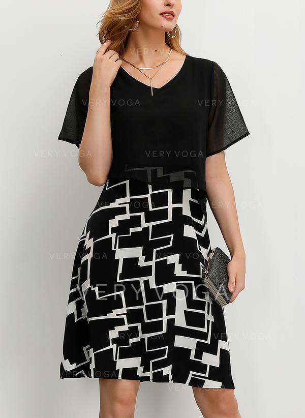 Nadrukowana Krótkie rękawy W kształcie litery A Długośc do kolan Przyjęcie/Elegancki Sukienki