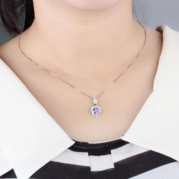 Hermoso Crystal de plata Señoras' Collar de la manera