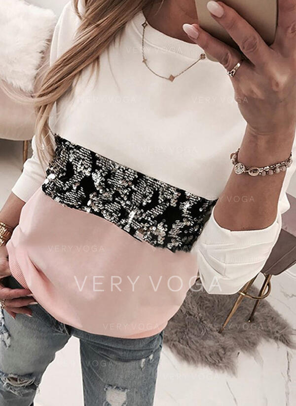 Color Block Sequins Round Neck Long Sleeves Casual T-shirts