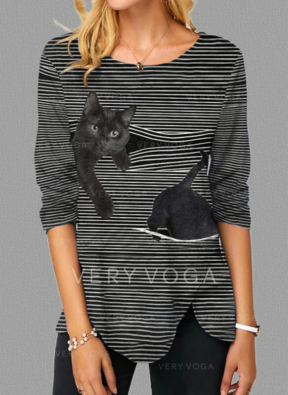 Animal Print Striped Round Neck Long Sleeves Casual Blouses