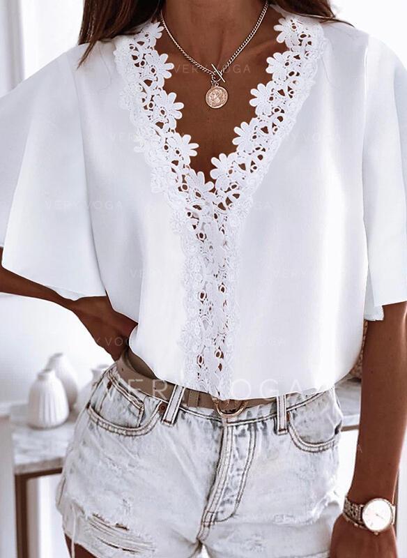 Solid V-Neck 1/2 Sleeves Elegant Blouses