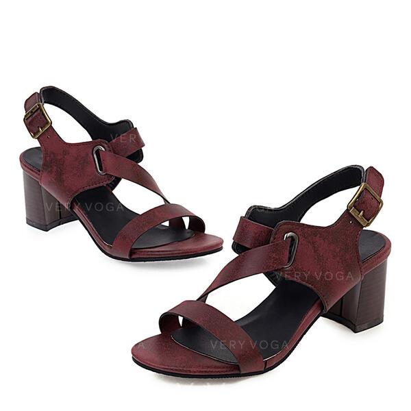 Femmes PU Talon bottier Sandales Escarpins avec Boucle chaussures