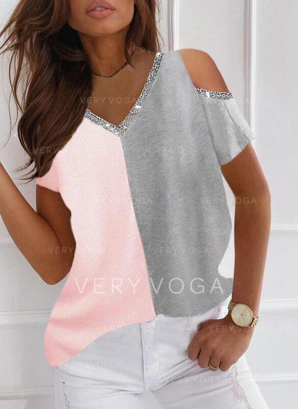 Color Block Sequins Cold Shoulder Short Sleeves T-shirts