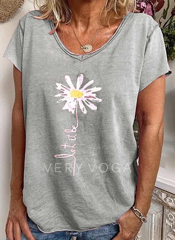 Print Blommig V-ringning Korta ärmar Fritids T-shirts
