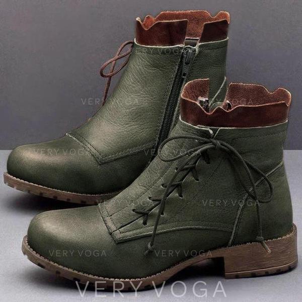 Kvinner PU Flat Hæl Støvler Mid Leggen Støvler med Spenne sko