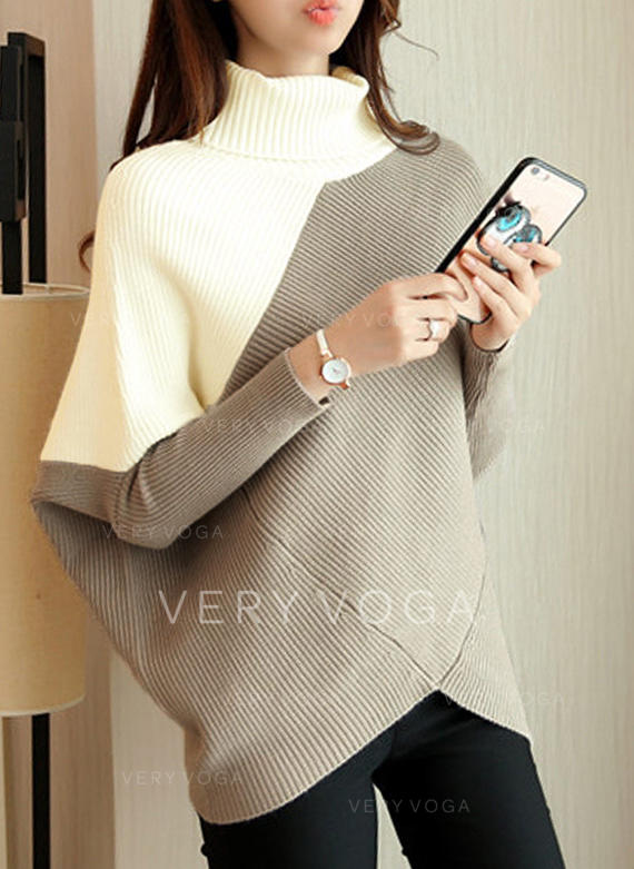 Color Block Turtleneck Sweater Dress