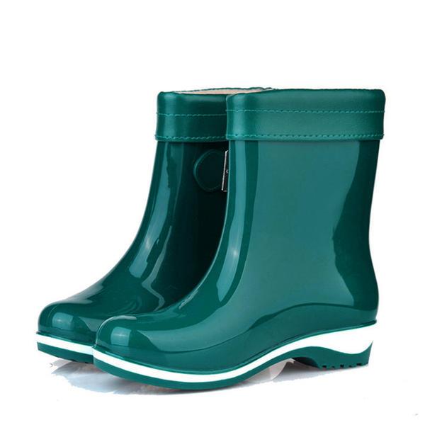 Női PVC Alacsony sarok Zárt lábujj Csizma Bokacsizma Gumicsizma -Val Csat cipő