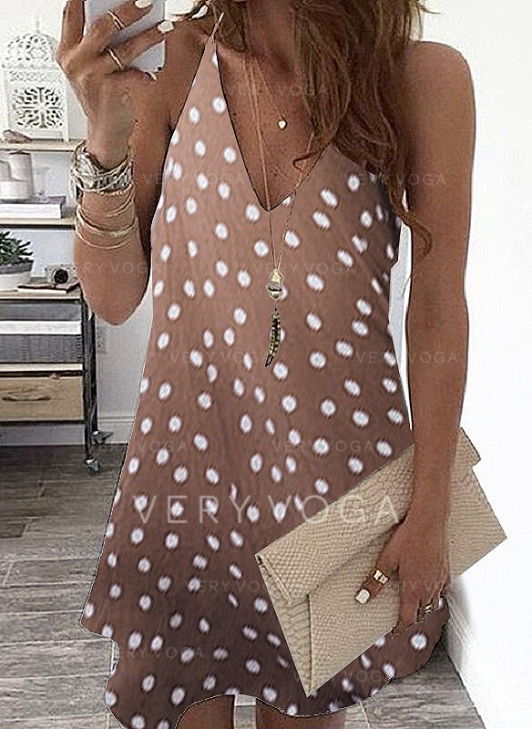 PolkaDot Sleeveless Shift Above Knee Casual/Vacation Dresses