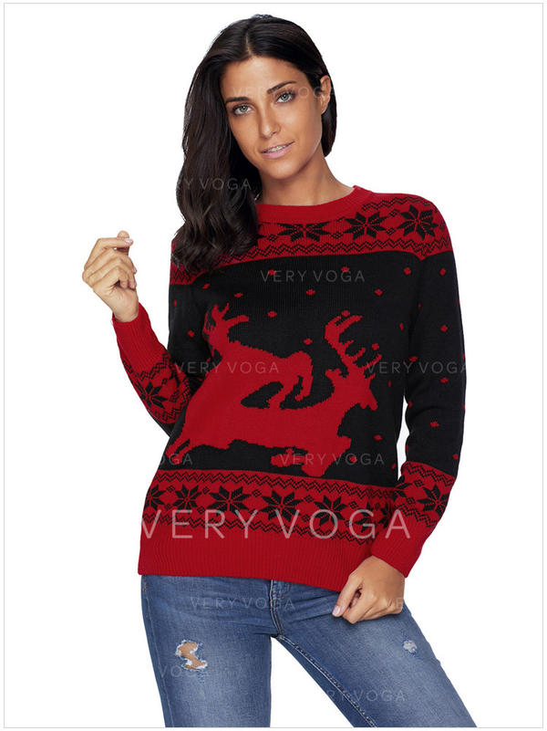 8e1365ca232a Polyester Round Neck Color Block Animal Print Ugly Christmas Sweater ...