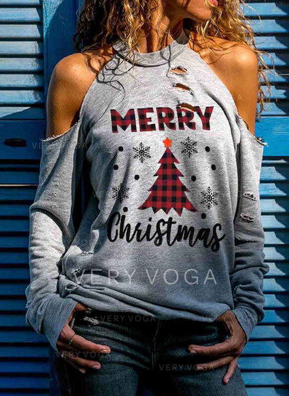 Drucken Figur Kalte Schulter Lange Ärmel Freizeit Weihnachten Blusen