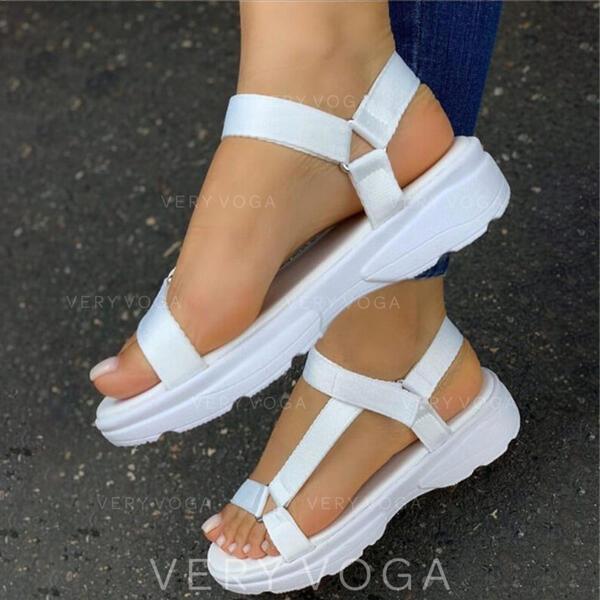 De mujer Lona Tacón plano Sandalias Salón Plataforma Encaje con Agujereado Velcro zapatos