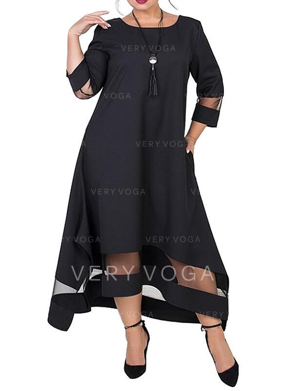 Sólido Mangas 3/4 Tendencia Pequeños Negros/Elegante Midi Vestidos