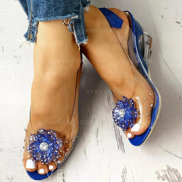 Women's PU Wedge Heel With Rhinestone Transparent shoes