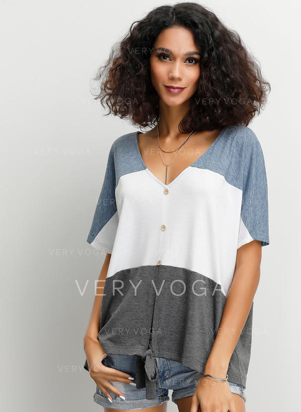 Color Block V Neck 1/2 Sleeves Button Up Casual Blouses