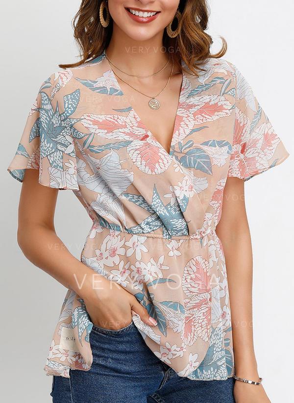 Print V-Neck Flare Sleeve Short Sleeves Casual Elegant Blouses