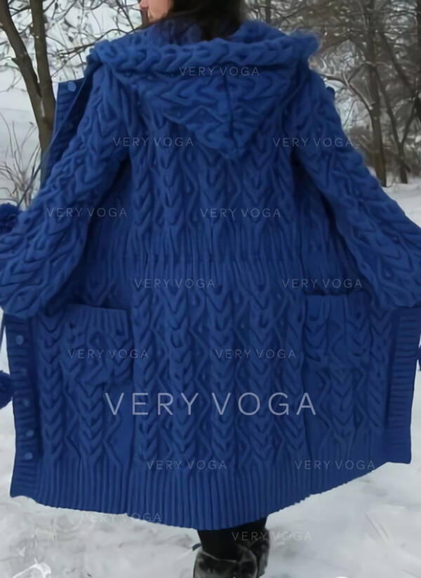 Solido Cavo Knit Maglia grossa Tasche Cappuccio Casual Lungo Cardigan