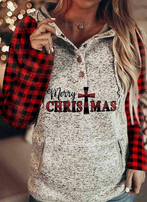 Print Grid Figur Lommer Lange ærmer Jule sweatshirt