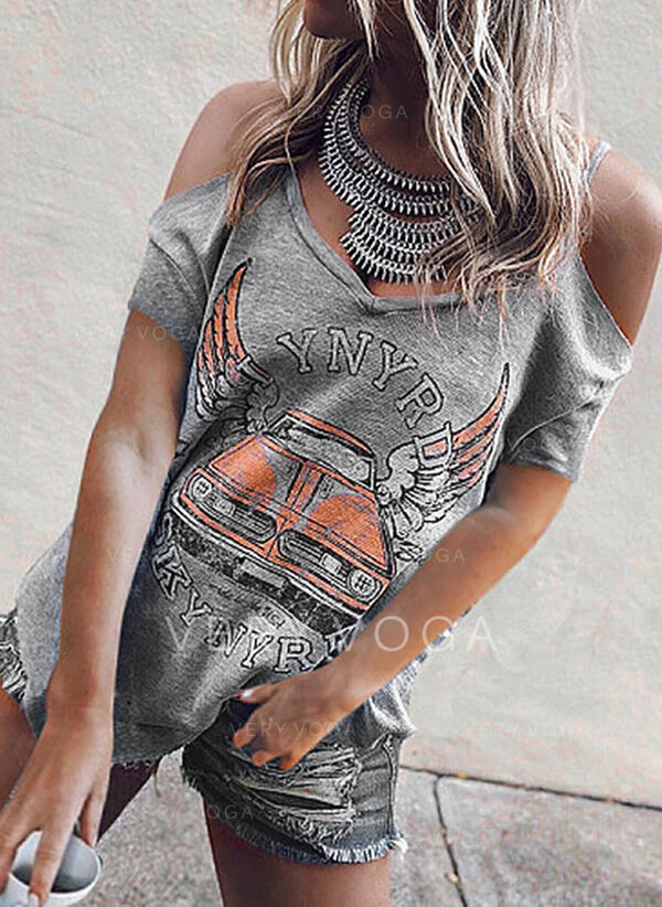 Print Cold Shoulder Short Sleeves Casual T-shirts