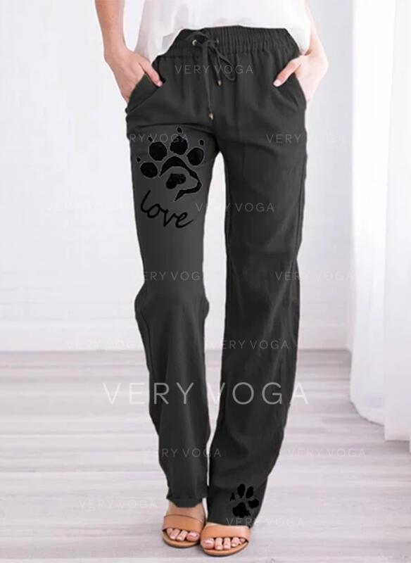 Tierdruckmuster Taschen Übergröße Lange Lässige Kleidung Druck Hosen