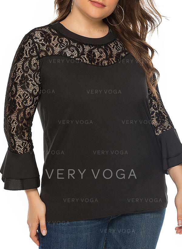 Solid Lace Round Neck Flare Sleeve Long Sleeves Casual Elegant Plus Size Blouses