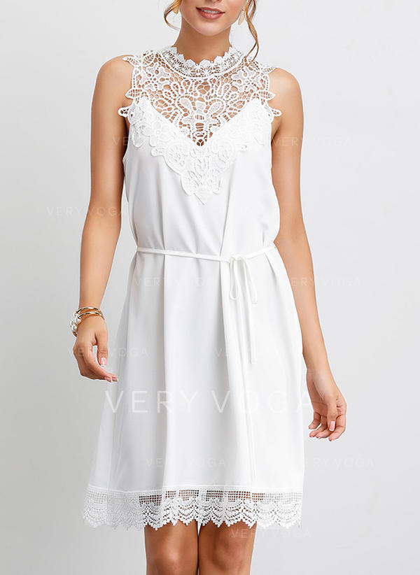 Lace/Solid Sleeveless Shift Knee Length Casual/Party/Elegant Dresses