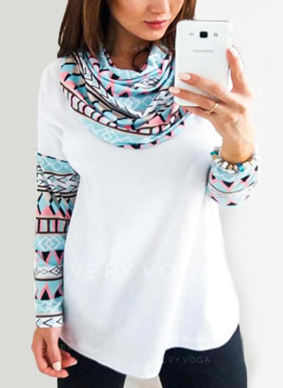 Print Long Sleeves Casual Blouses