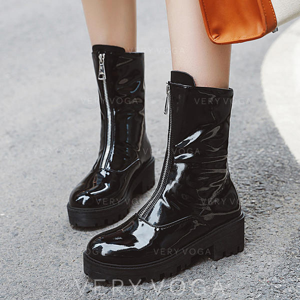 Women's Leatherette Chunky Heel Mid-Calf Boots With Ruched Zipper shoes