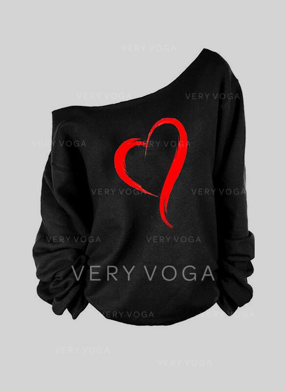 Print Heart One-Shoulder Long Sleeves Casual Blouses