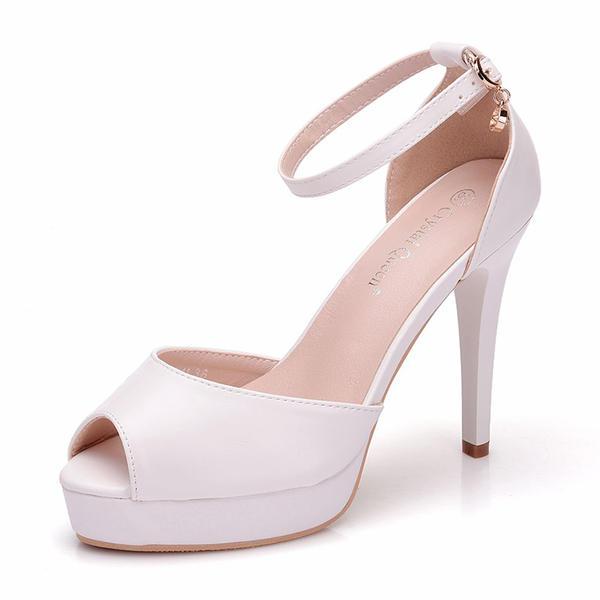 41556bc9cad7d4 Жіночі Шкіра Каблук взуття на короткій шпильці Насоси Сандалі ...