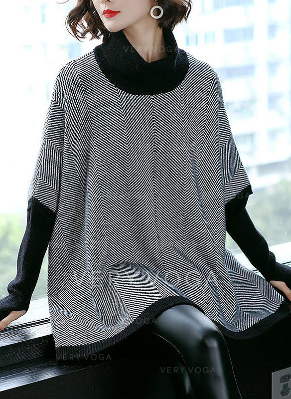 choisir le plus récent Quantité limitée nouveau style de [€ 40.92] Polyester Col Roulé Patchwork Robe Pull - VeryVoga