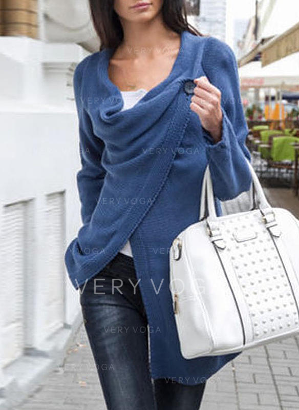 Solid Cowl Neck Knit Tops