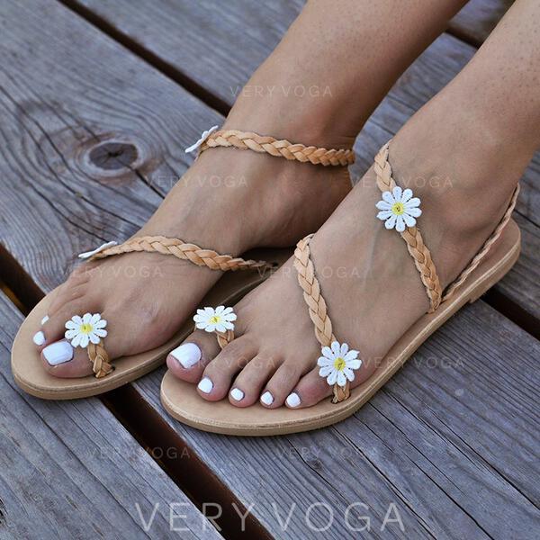 Mulheres PU Sem salto Sandálias Peep toe com Flor sapatos