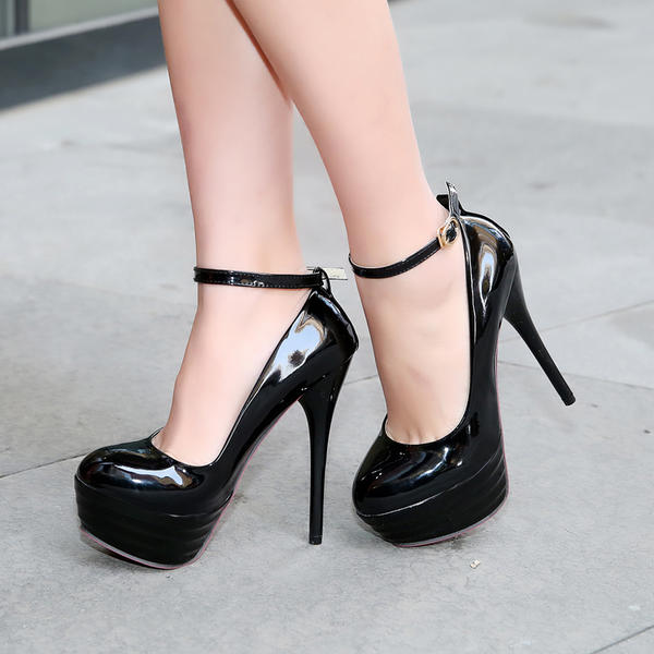 Women's PU Stiletto Heel Pumps Platform Closed Toe With Buckle shoes