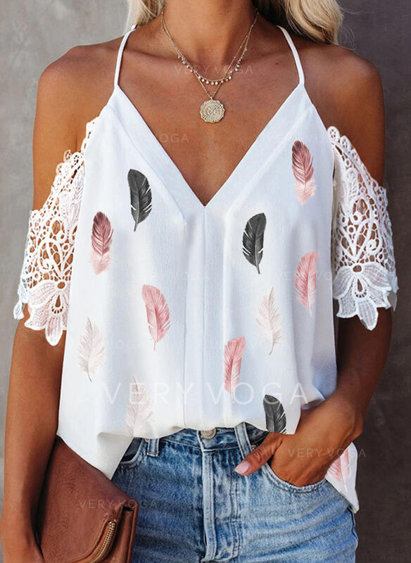 Print Feather Lace Cold Shoulder 1/2 Sleeves Elegant Blouses